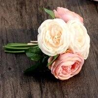 Artificielle Fleurs de Soie Rose 5 Tete De Fleur Feuille Decor De Jardin Bricolage Rose Deco Maison Arrangement De Fleurs Bouquet De Mariee En Gros