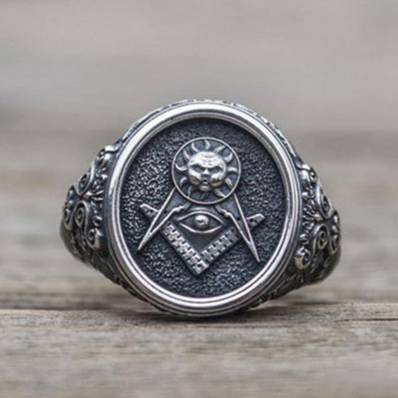 Vintage Black Stainless Steel Men Ring Big Free Mason Freemasonry Masonic AG Retro Punk Silver Color Aolly Male Ring Jewelry