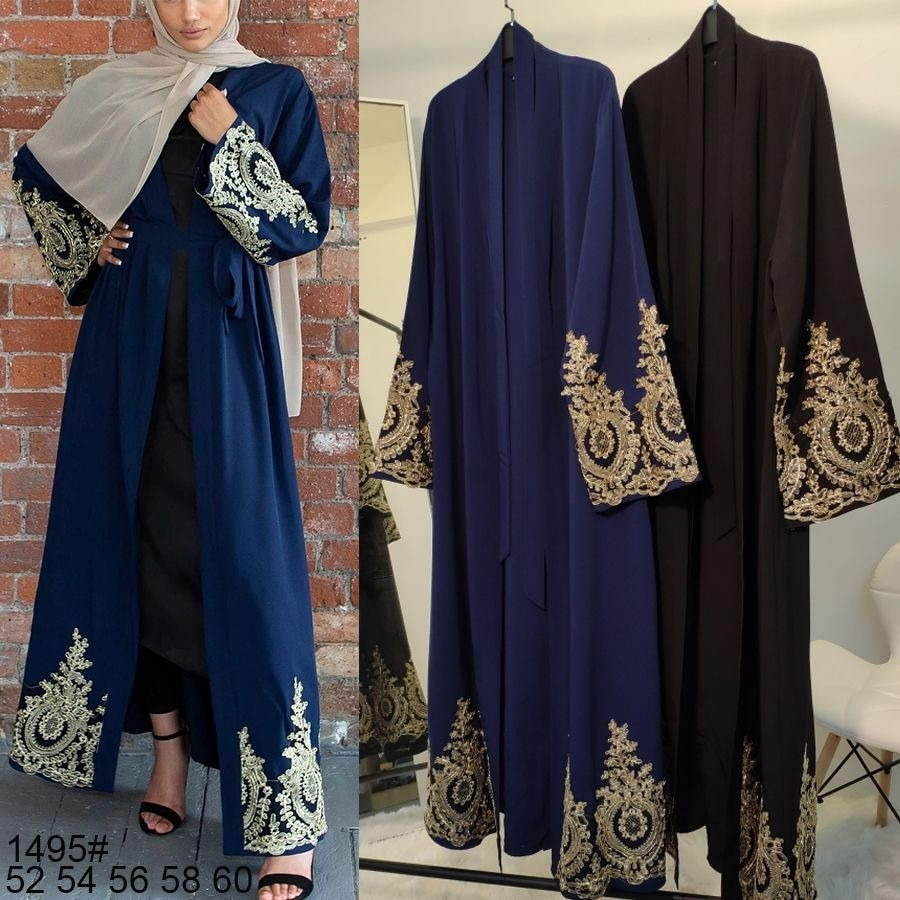Vestido Muçulmano Dubai Laço Kaftan Jilbab Abaya Robe Rendas Hijab Festa Outwear Túnica Oriente Médio Árabe Jubah Streetwear Islâmico