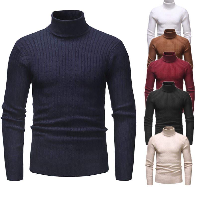 Новинка 2020, осенне-зимний мужской свитер, Мужская водолазка, однотонный Повседневный свитер, мужские облегающие брендовые вязаные пуловеры