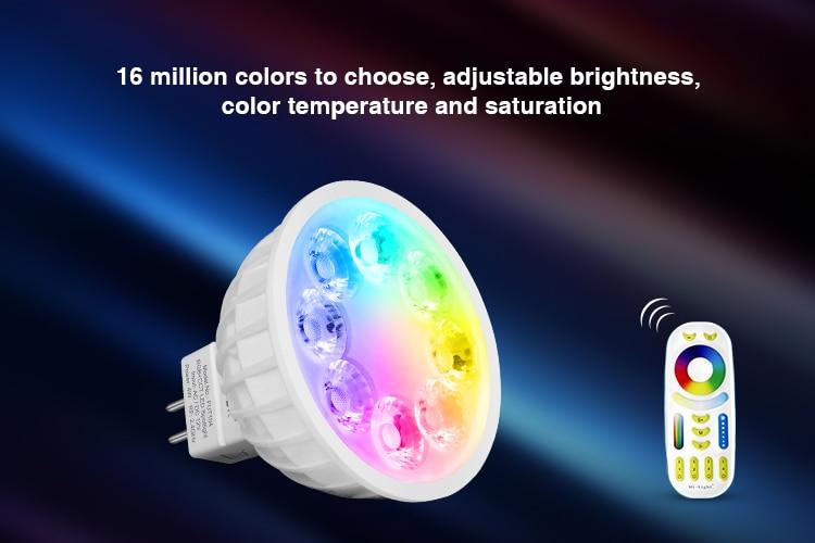 MiBOXER FUT014 6W LED bombilla LED Spotlight RGB + CCT/Dual blanco remoto inalámbrico de 2,4 Ghz Android/iOs APP bombilla inteligente