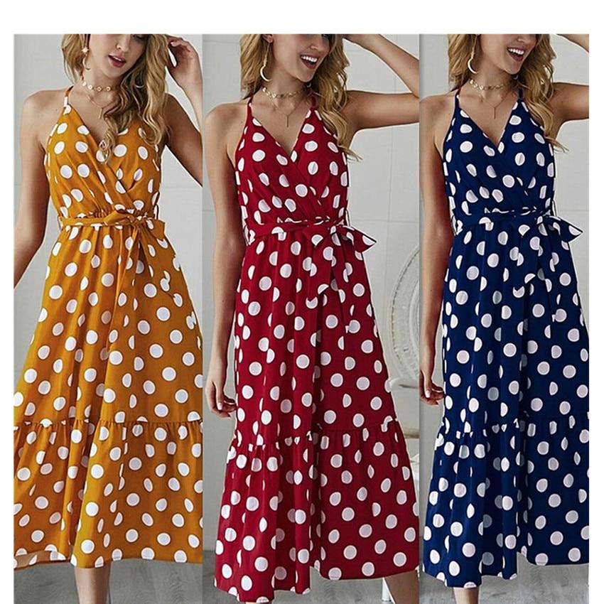 MAGGIES WALKER temperamento Commuting Polka Dot vestido de tirantes playa Estilo de vacaciones falda vestido de enfermería vestidos de mujer