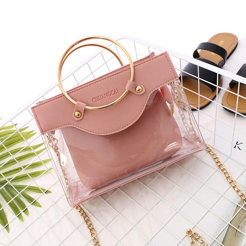 2019 nuevo bolso de verano de alta calidad transparente para mujer, bolso de mano con anillo metálico, bolso de mano con cadena de viaje para la playa, bolso bandolera #20
