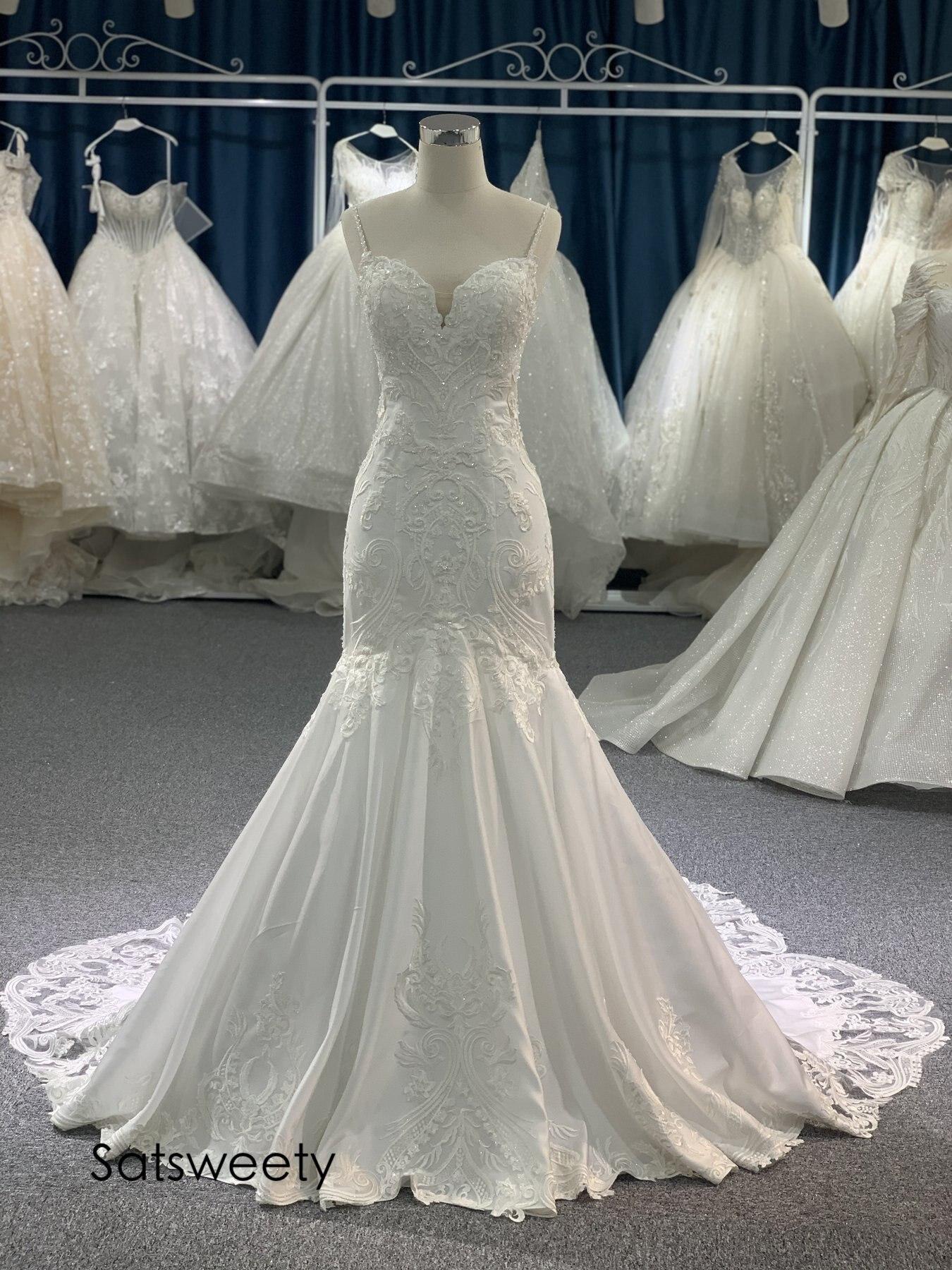 صور حقيقية يتوهم الدانتيل ذيل فستان الزفاف 2021 مطرز حورية البحر فساتين زفاف مخصصة Vestido de Noivas