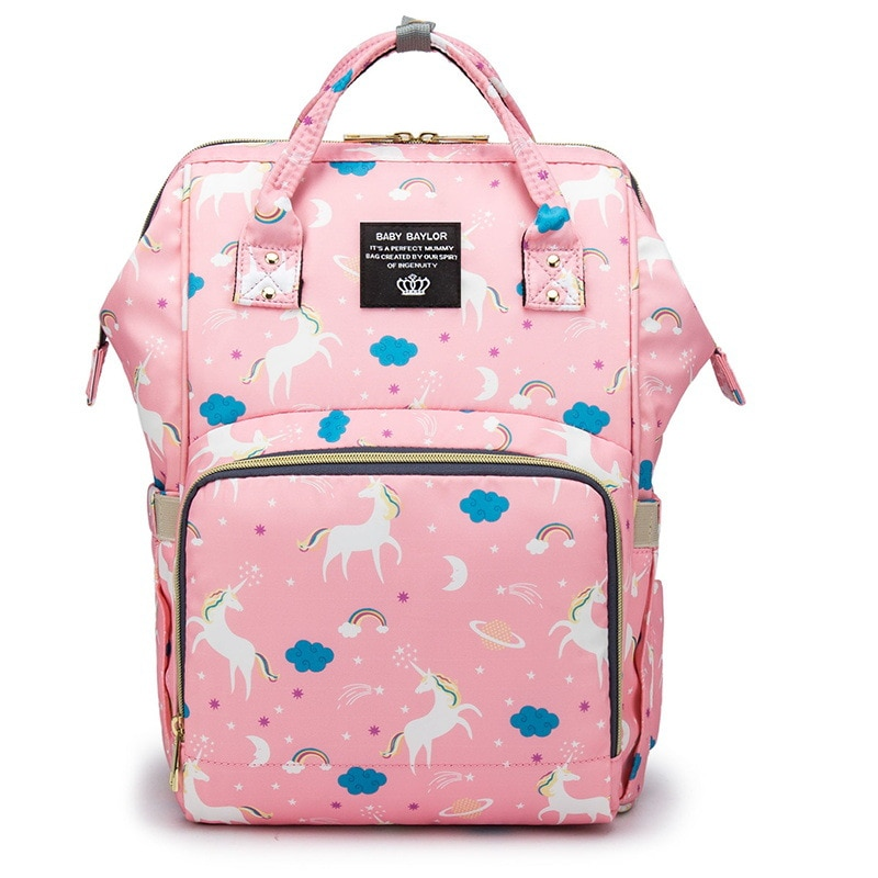 Atinfor-حقيبة حفاضات من قماش أكسفورد بتصميم وحيد القرن للأم ، حقيبة سفر للأم والطفل ، مقاومة للماء ومتعددة الوظائف