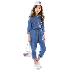 2020 big girls fashion denim clothing set tops shirts jacket+pants,kids 2pcs casual suits children clothes 4-14T