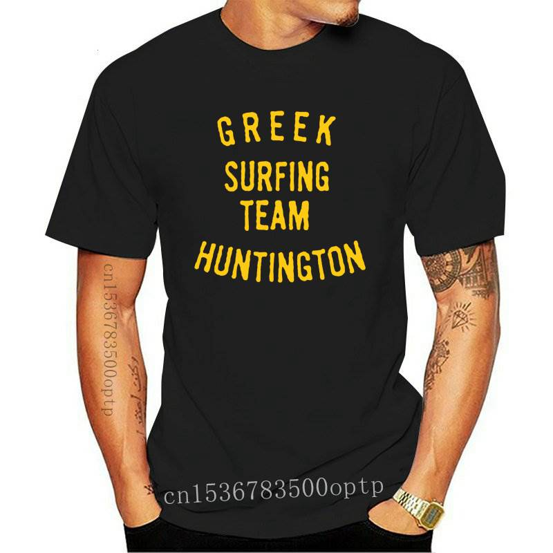 Vintage camiseta griego equipo Huntington 1963 ropa de calle de moda camiseta