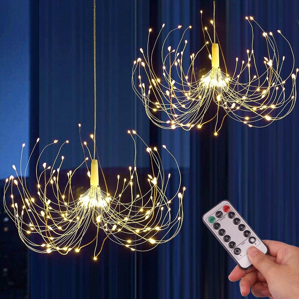 200 LED String Lights Hanging Starburst Lamp DIY Firework Fairy Lights Christmas Garland Festival Decor Remote Twinkle Lights