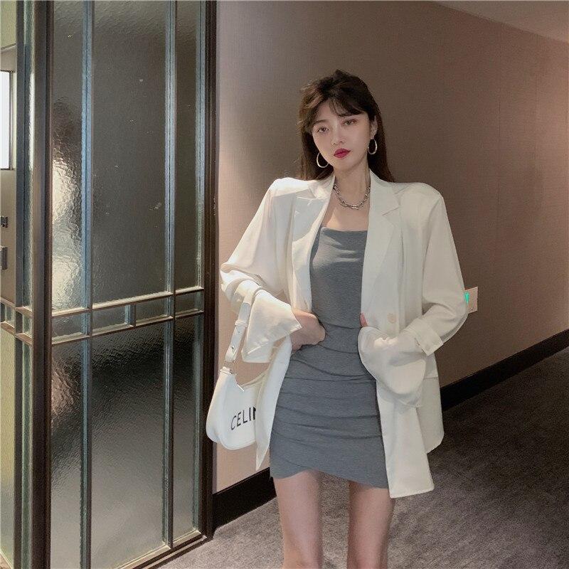 2021 المرأة الملابس الخريف فضفاض قسم رقيقة انظر من خلال بأكمام طويلة حماية الشمس السترة الكورية غير النظامية فستان محكم التفصيل دعوى