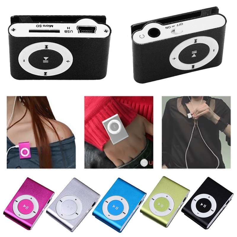 New Portable Mini Clip-on MP3 Music Player With Micro TF/SD Slot Portable Metal Mp3 With Earphone US