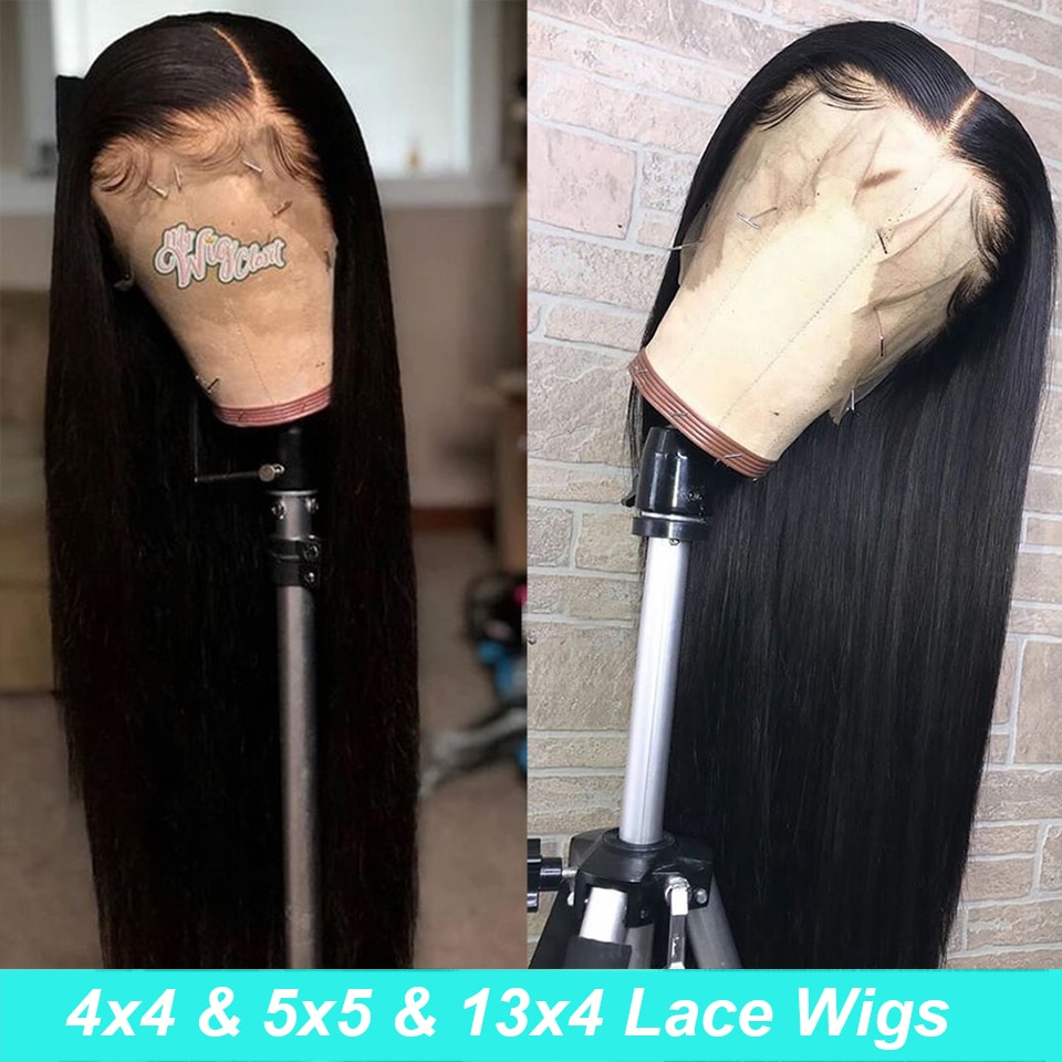 Raw Indian Hair Lace Front Closure Wig Straight Lace Front Human Hair Wigs For Black Women PrePlucked Transparent Lace Wigs