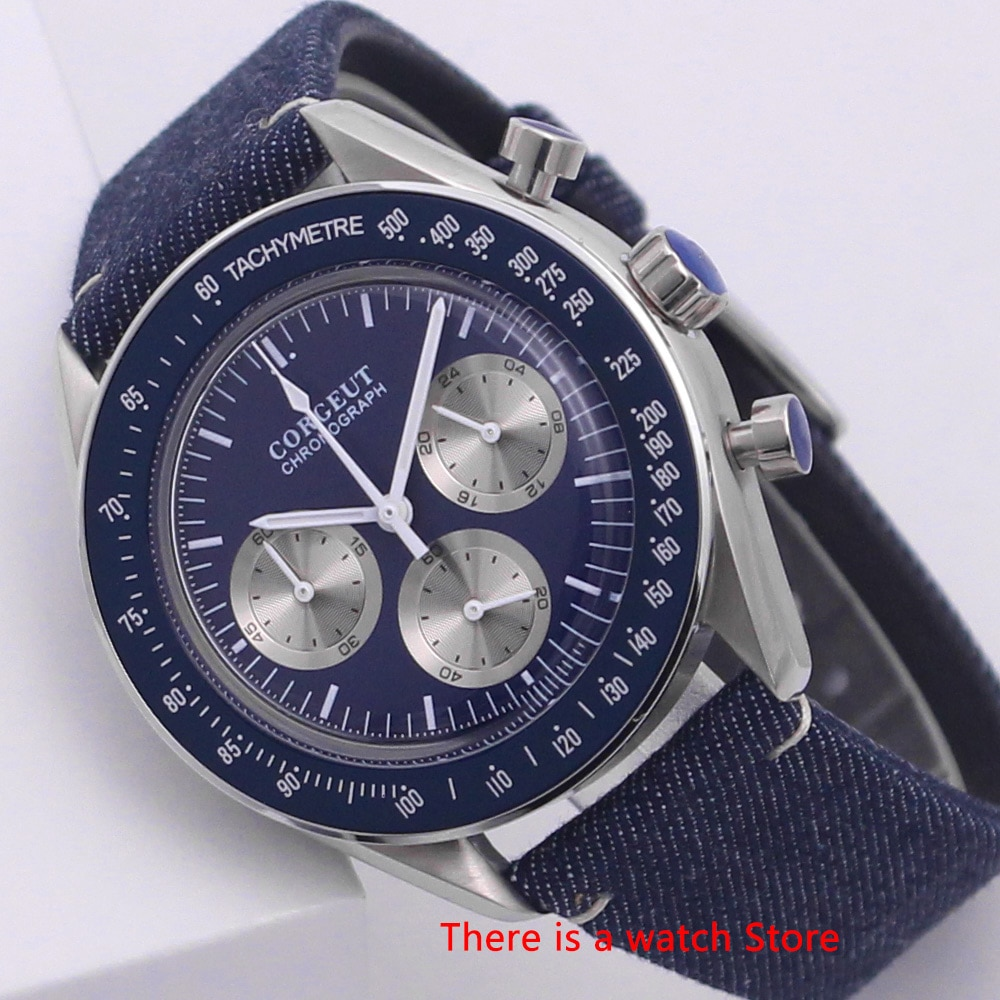 Reloj Corgeut de 40mm para hombre, reloj de marca de lujo, reloj deportivo militar para hombre, cronógrafo multifuncional, reloj de pulsera de cuarzo VK, correa de cuero