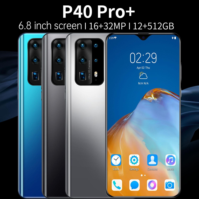 هاتف ذكي جديد P40 Pro + ذاكرة كبيرة سعة 12 جيجا بايت + 512 جيجا بايت شاشة 7.0 بوصة لهاتف هواوي المحمول خاصية فتح الوجه بذاكرة 5 جيجا هاتف محمول بثلاث بط...