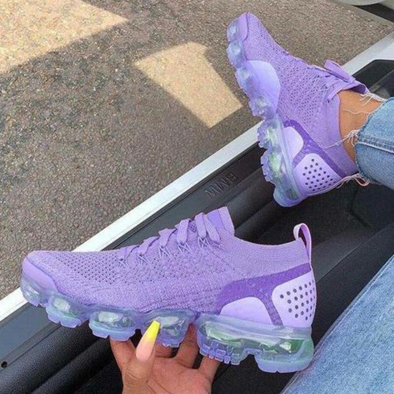 2021 Beige Sneakers Women Casual Shoes Mesh Air-Cushion Flat Anti-Slip Women Sneaker Outdoor Trainer
