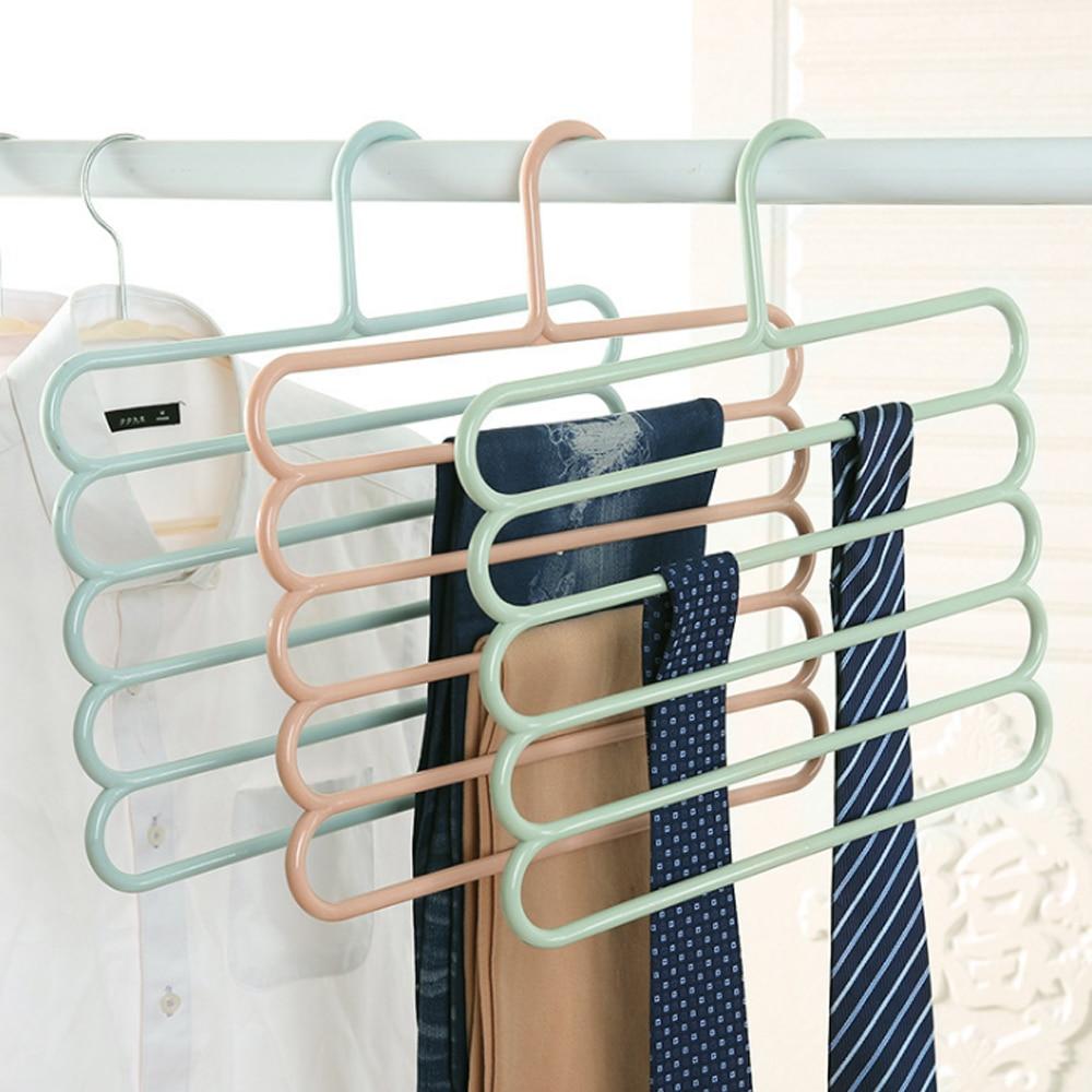 Pantalones perchas soportes multifunción pantalones percha Rack de almacenamiento de ropa percha corbata bufandas cinturón toalla antideslizante magia de 1PC