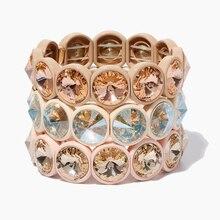 KELITCH Handmade Bright Big Crystal Elastic Bracelet Enamel Stretch Cuff Bangle Rainbow Tile Bead Bracelet For Women Jewelry