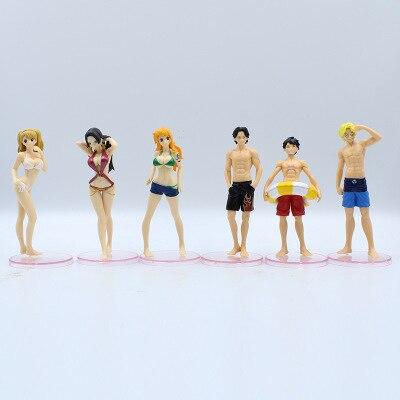 Seis roupa de banho de uma peça à mão luffy saab ace fêmea imperador nami brin ação personagem modelo brinquedos