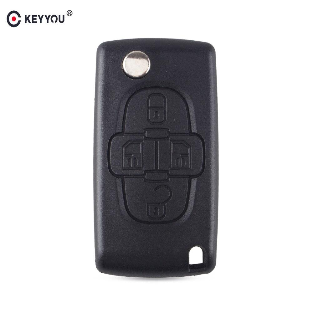 KEYYOU Replacement Remote Car Key Shell Case Fob Flip Folding Fob For Peugeot 1007 Keyless Entry Key Case CE0523 HU83 Blade