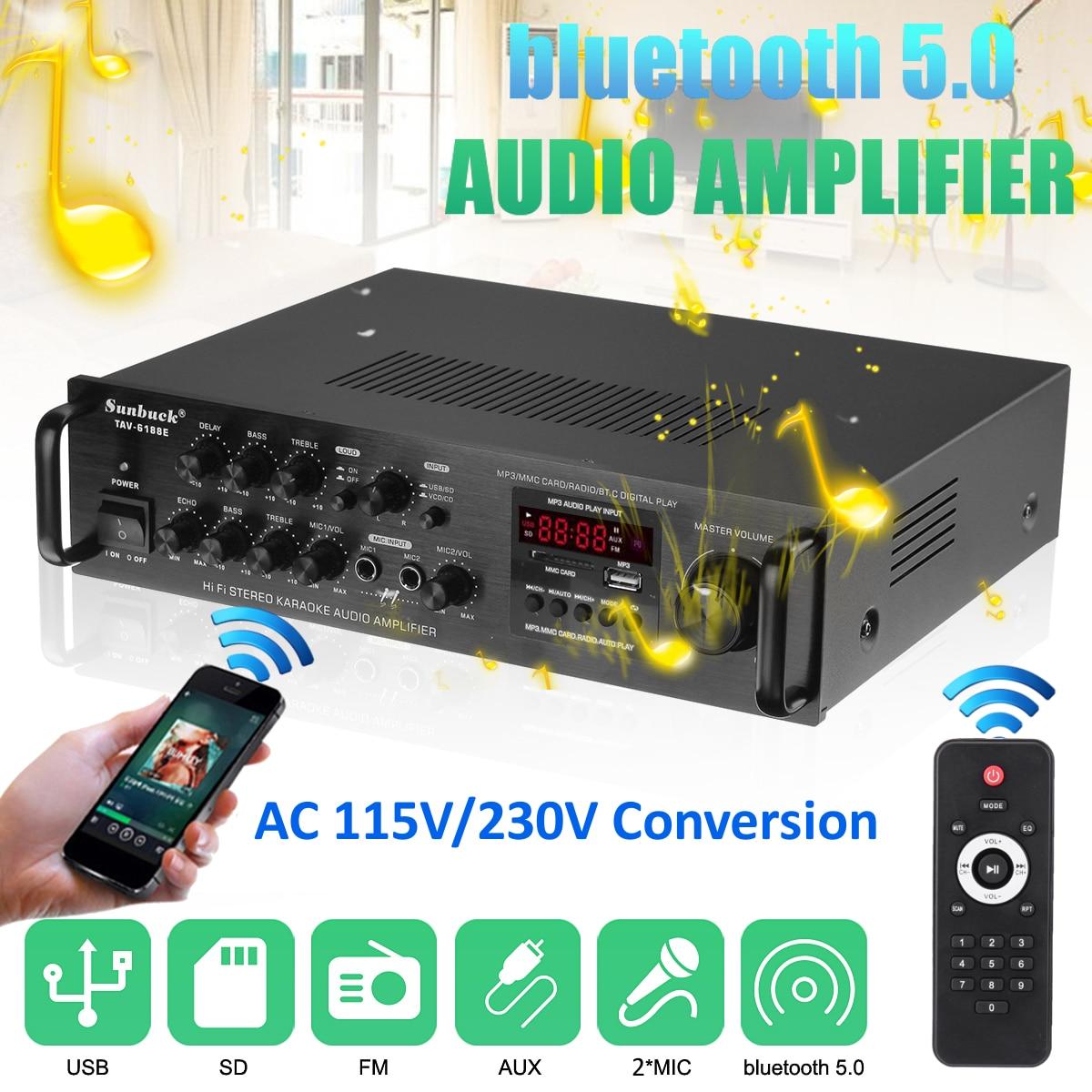 2000W 5 canal bluetooth amplificador estéreo de alta fidelidad LED Karaoke Digital...