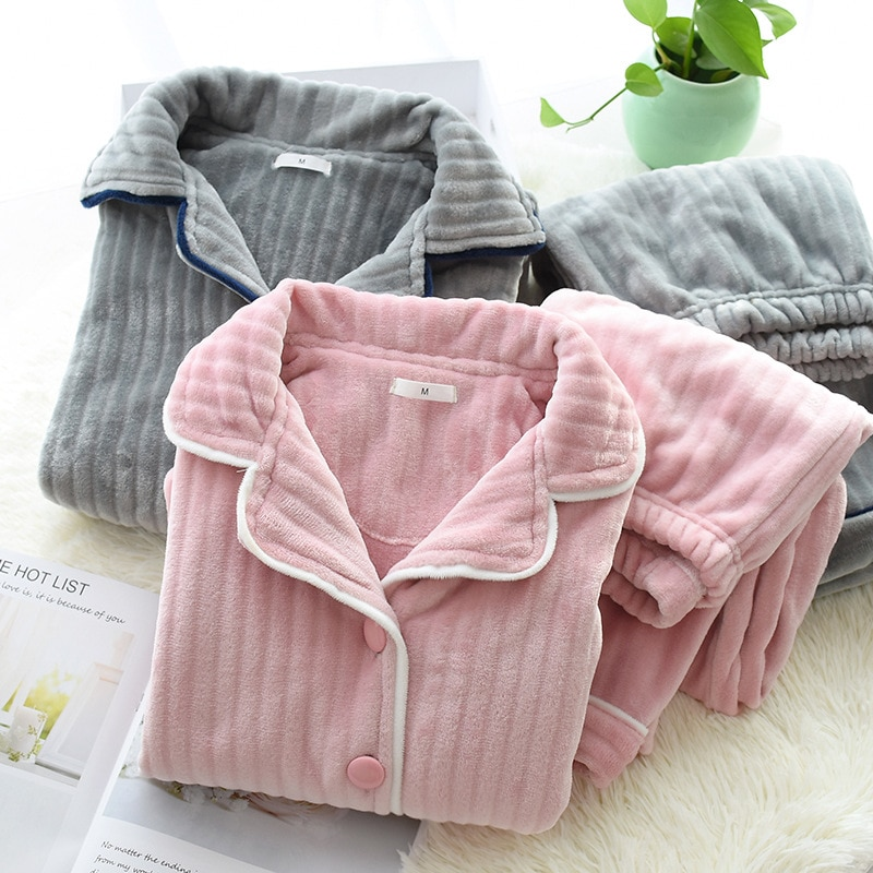Теплый фланелевый пижамный комплект SR235 для женщин, плотные бархатные пижамные комплекты из кораллового бархата с длинным рукавом, ночная р...