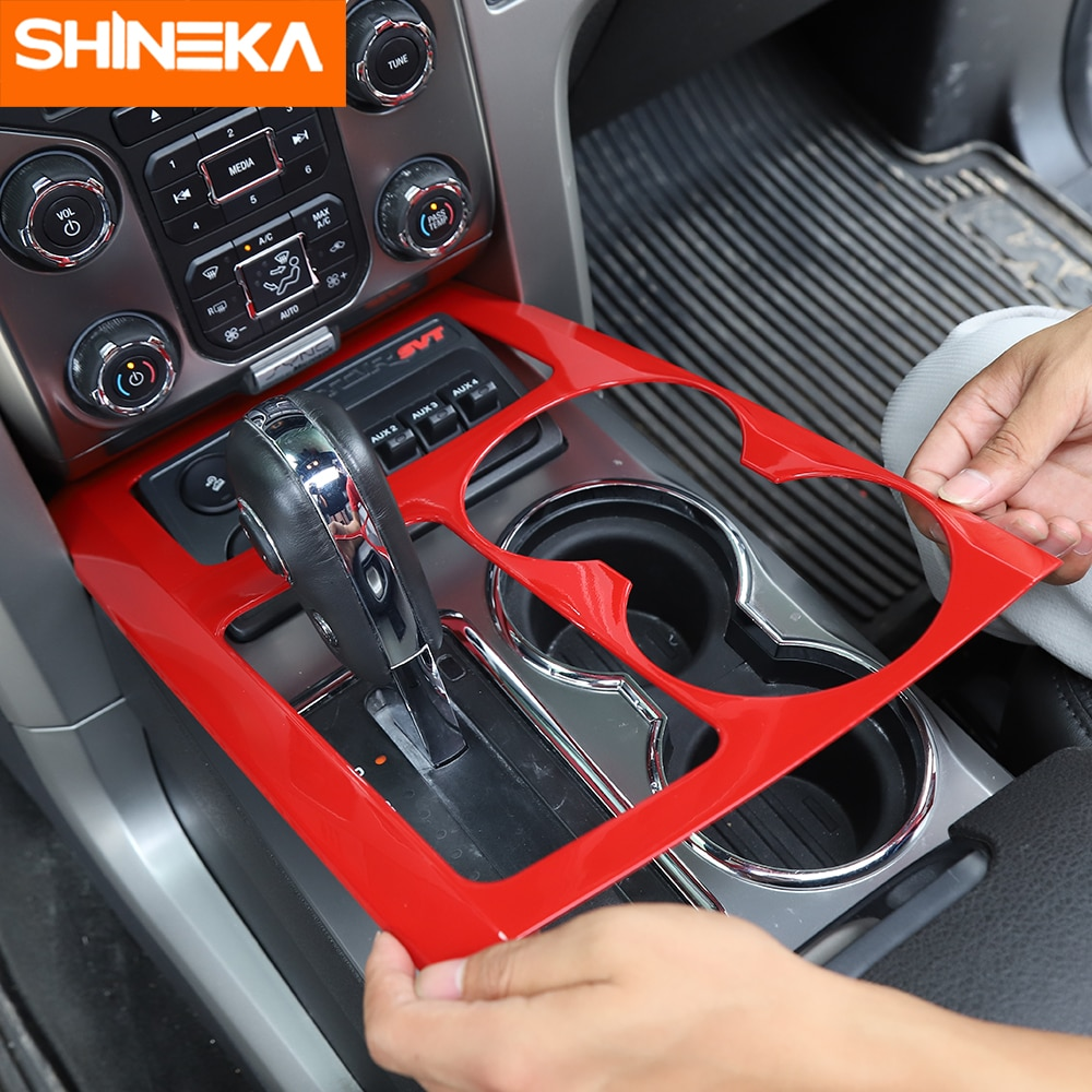 SHINEKA Interior Mouldings For Ford F150 Raptor Car Gear Shift Box Panel Cup Holder Decor Cover For Ford F150 Raptor 2009-2014 enlarge