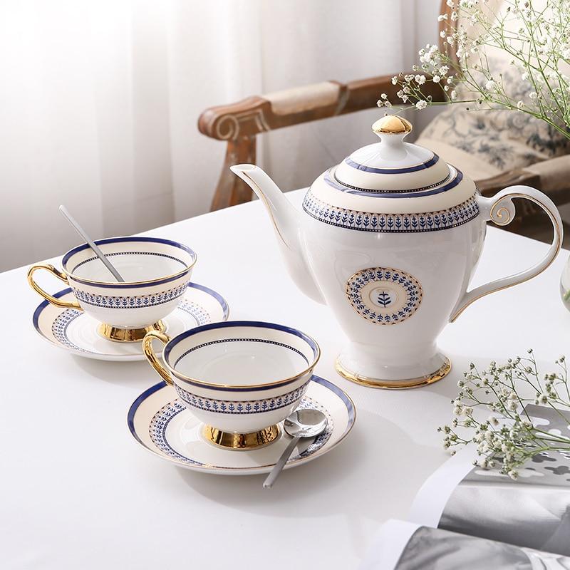 Bone China Tea Set Porcelain Tea Cup Ceramic Pot Morocco Style Teapot Set Cafe Mug Coffee Cup Advanced Teacup Teaset Teaware