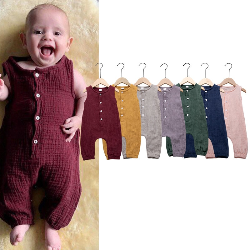 0 3years new babys cotton linen romper summer ruffles sleeveless baby jumpsuit toddler bobo bebe kids children clothes infants Summer Cotton And Linen 7-color One-piece Romper Sleeveless Unisex Newborn Baby Clothes Jumpsuit Toddler Infant Romper
