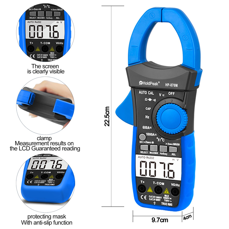 Multímetro de rango automático multímetro de medidor de Pinza Digital Pinza Piers...