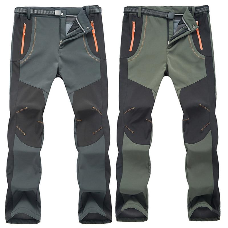 Мужские Водонепроницаемые брюки, мужские Стрейчевые повседневные рабочие брюки 5XL, мужские теплые зимние брюки, мужские брюки-карго с флисо...