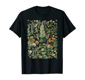 Vintage Inspired Flower Botanical Chart T-Shirt Men's Black T-shirt Unisex Tops Harajuku Ullzang T-shirt Funny Print Tshirt