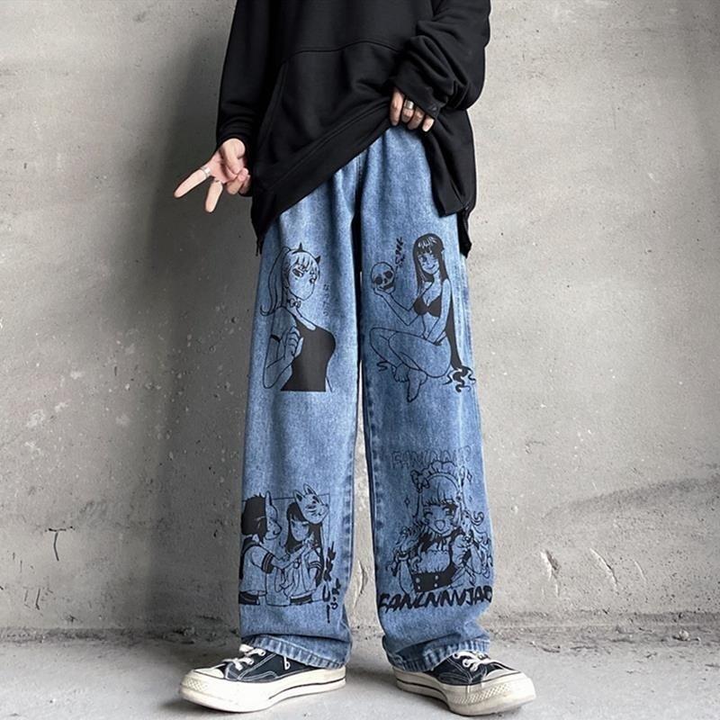 Summer New Style Wide Leg Pants Street Retro Cartoon Jeans Y2k Aesthetic Print Denim Trousers Hole Female Plus Size Women Jeans