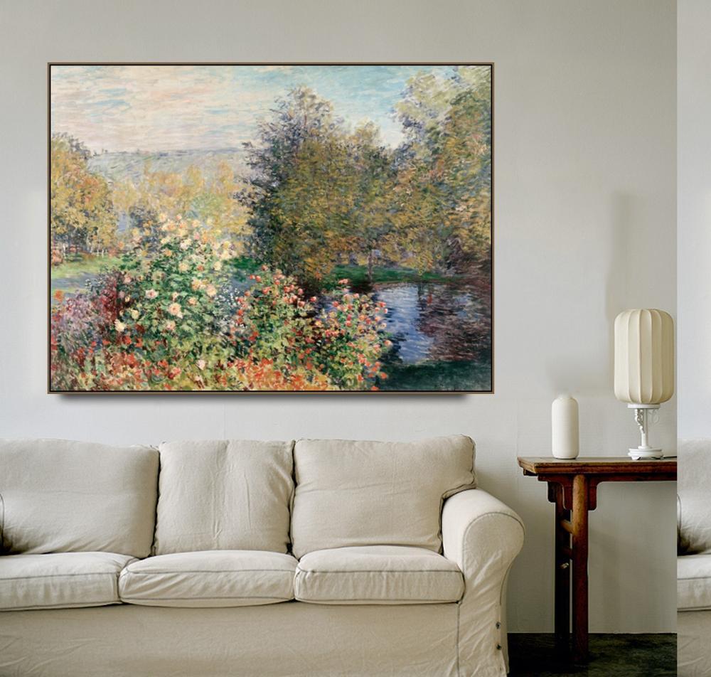 "Cassisy لوحة زيتية قماشية ""ركن الحديقة في Montgeron"" كلود مونيه الفني صورة ملصق فني ديكور المنزل الحديث"
