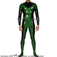 black and green sexy latex catsuit with feet back to crotch zipper body shape decoration rubber bodysuit zentai overall lty 0178