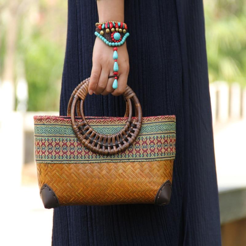 Retro Japanese handmade bamboo woven bag mini woven female bag literary youth storage woven rattan handbag