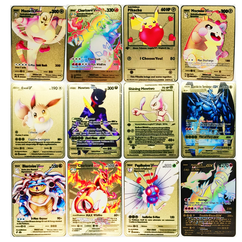 Pokemon 27 Styles New Mewtwo GX MEGA Gold Metal Card Super Game Collection Anime Cards Toys for Children Christmas Gift