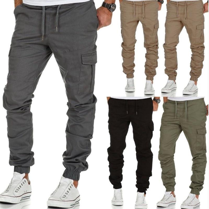 Брюки мужские хлопковые в стиле хип-хоп, джоггеры, штаны, мужские джоггеры, однотонные мужские брюки с несколькими карманами, M-3XL, 2020