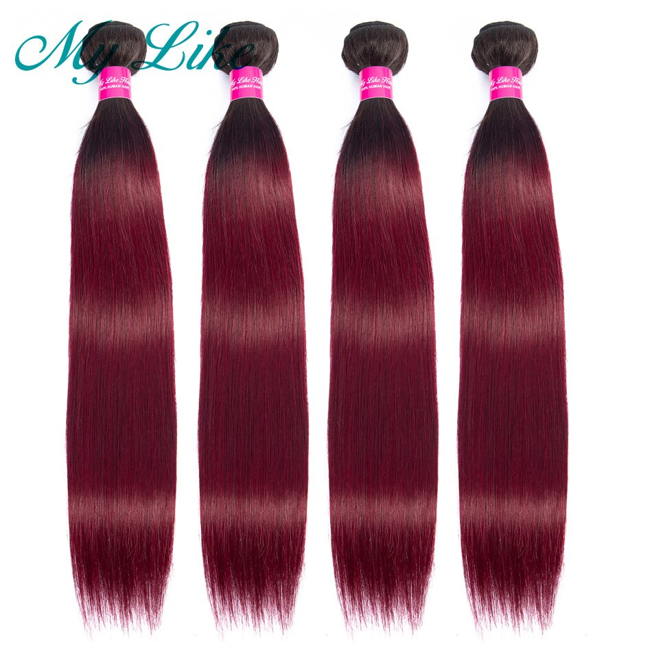 Extensiones de pelo liso brasileño mi gusto pre-coloreado Ombre 1/4 mechones 1b/99j 2 tonos rojo borgoña no remy extensiones de pelo humano con degradado