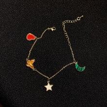 Fresh Star Moon Multi-Element Bracelet Love Four Flower Green Leaf Butterfly Ins Mori Style Simple B