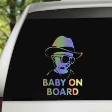 Car Sticker Drop Shipping Baby On Board Funny Reflective Sunglasses Child Stickers and Decals Vinyl