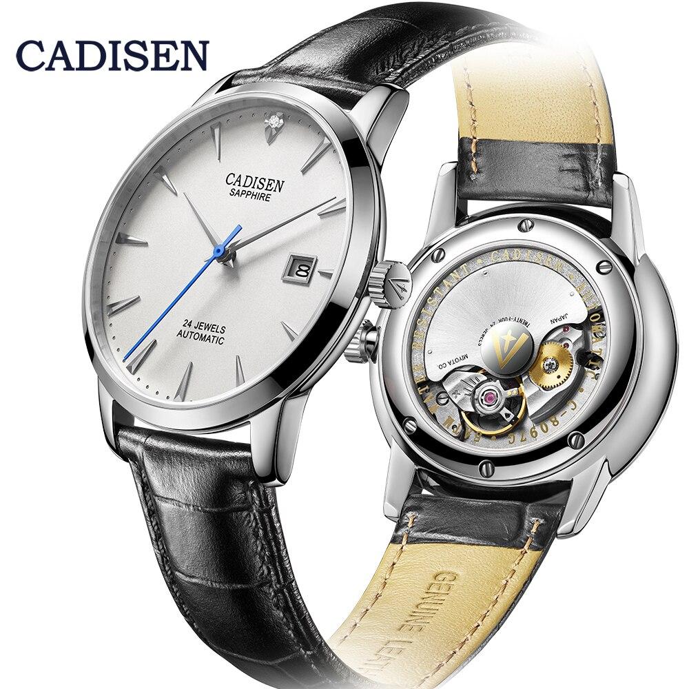 CADISEN الرجال الساعات التلقائي ساعة معصم الميكانيكية ميوتا 9015 العلامة التجارية الفاخرة ساعة ماسية حقيقية منحني الياقوت الساعة الزجاجية