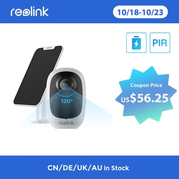 Reolink Argus 2E and Solar Panel Rechargeable Battery WiFi Camera 1080P Full HD PIR Motion Detection 2-Way Audio 120° Wide Viewi