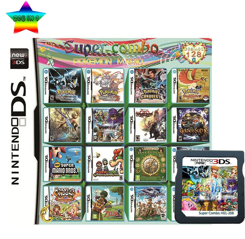 Cartucho de tarjeta Pokemon para Nintendo DS NDS 3DS XL 3DSXL 2DS NDSI 208 en 1