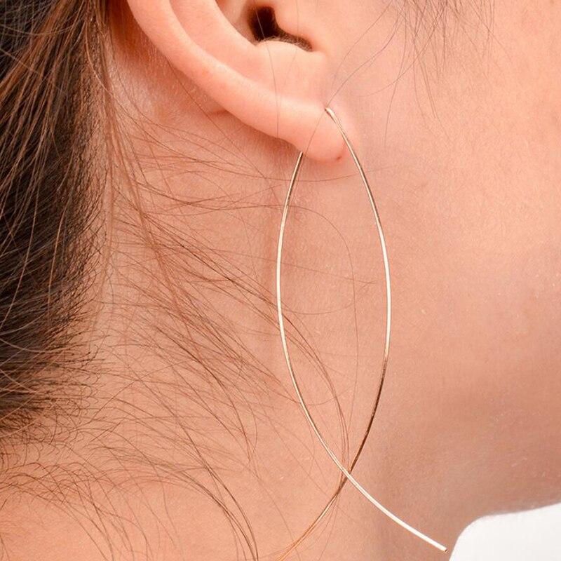 Jisensp Indian Jewelry Punk Wire Fish Earrings for Women Minimalist Jewellery Fine Long Ear Hoop Earrings Female Party Gifts