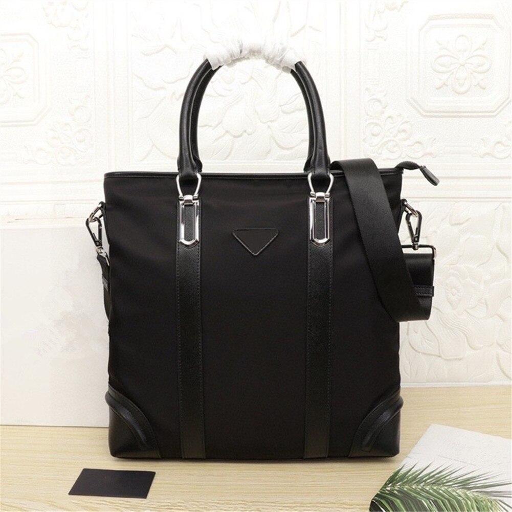 Men's black nylon and leather office business briefcase large-capacity handbag waterproof men's computer bag