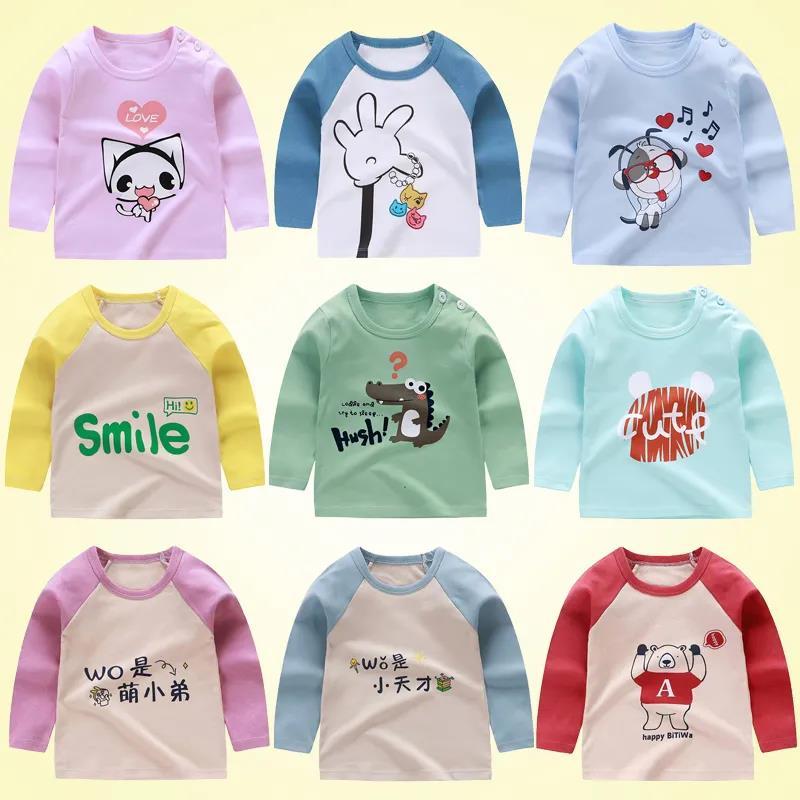 Детские футболки для маленьких мальчиков и девочек, Длинные Детские топы с мультяшными животными для новорожденных, хлопковые футболки уни...