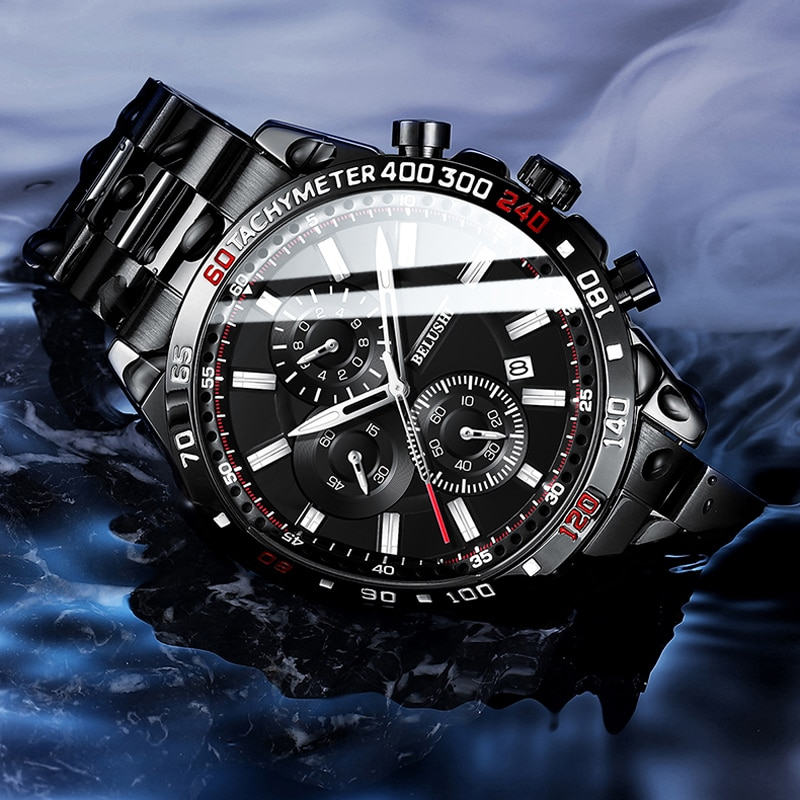 Marca de Luxo Esporte à Prova Belushi Topo Relógio Masculino Moda Dwaterproof Água Relógios Quartzo Cronógrafo Aço Inoxidável Novo