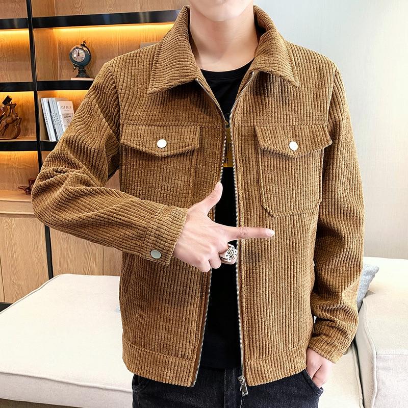 Мужская одежда 2021 мужская повседневная Весенняя Красивая Вельветовая куртка Молодежная Вельветовая куртка с лацканами и двумя карманами