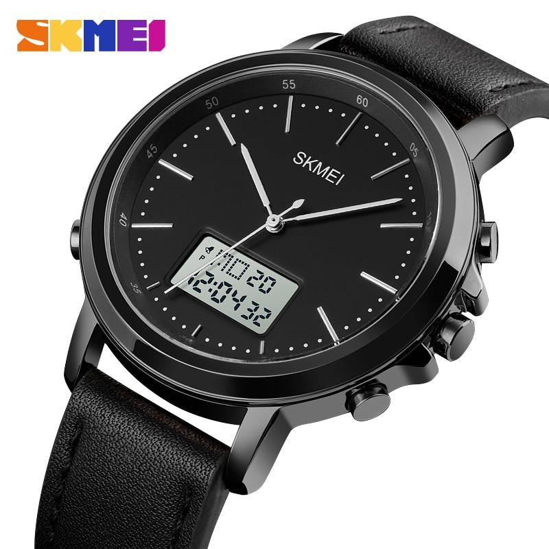 SKMEI Dual Display Casual Watches For Men Chrono Alarm Digital Mens Wristwatch Leather Strap Waterproof Watch reloj hombre 1652