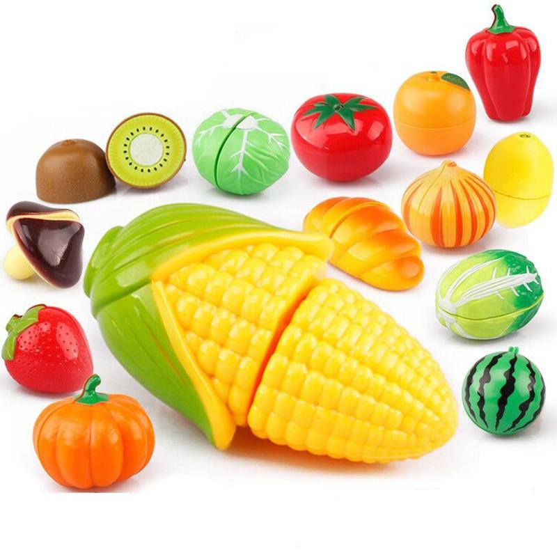 Juego de simulación de Comida en miniatura educativo para cocinar, frutas y verduras, juguetes de cocina para niños y niñas