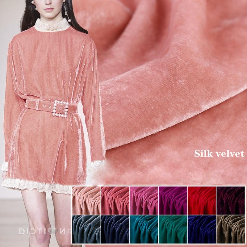 114cm width silk velvet fabric grape purple reust red bean green rubber coffee peacock blue silver grey color